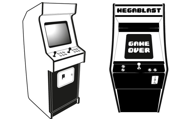 Retro arcade machines graphic