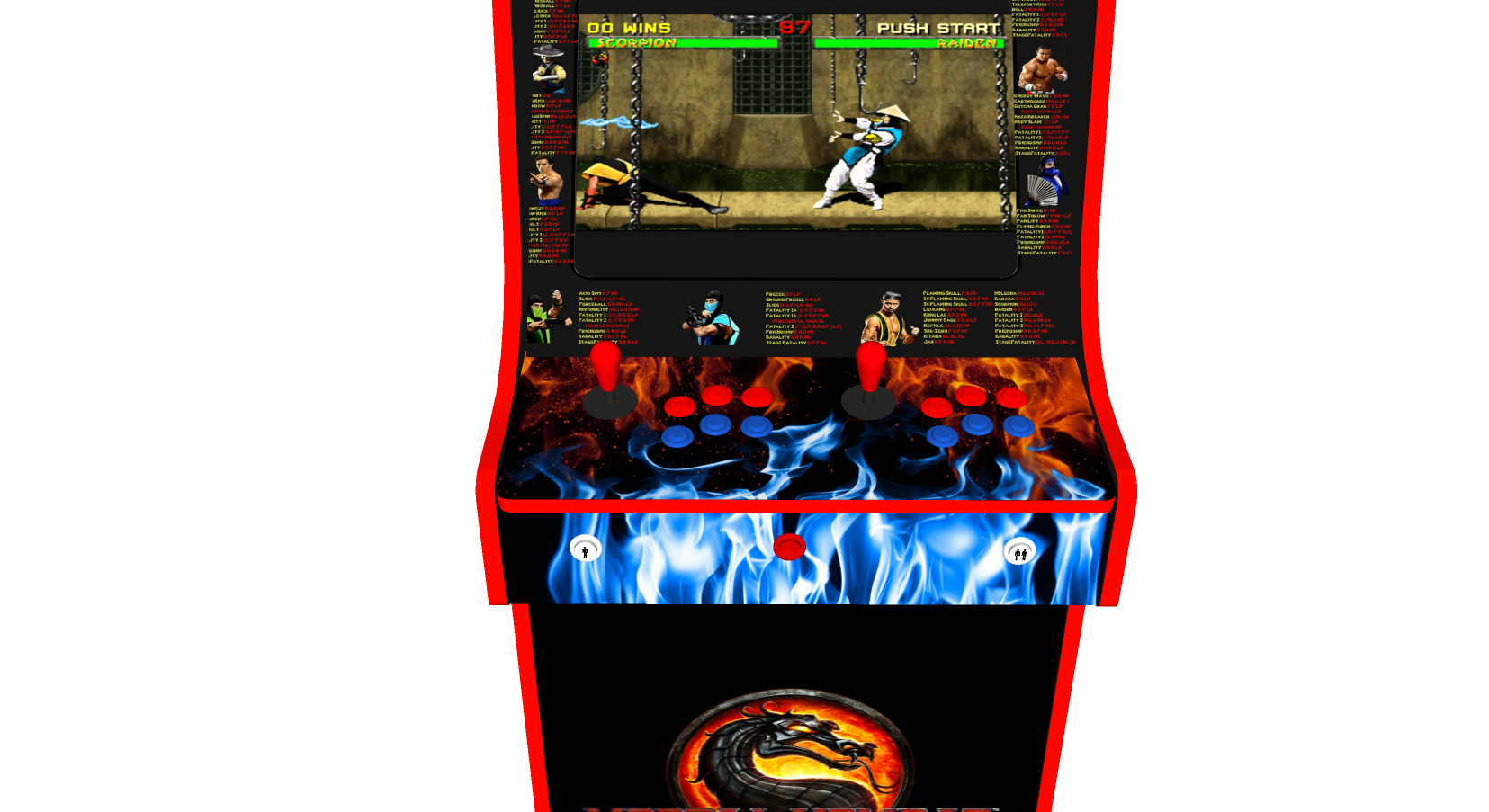 Classic Upright Arcade Machine - Mortal Kombat theme - Buttons v3.1