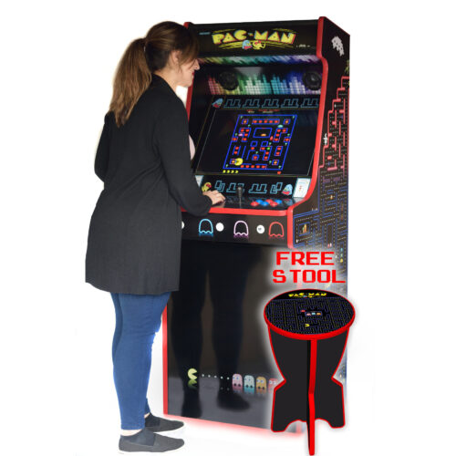 Classic-Upright-Arcade-Machine-PacMan-Theme-playing-free-stool