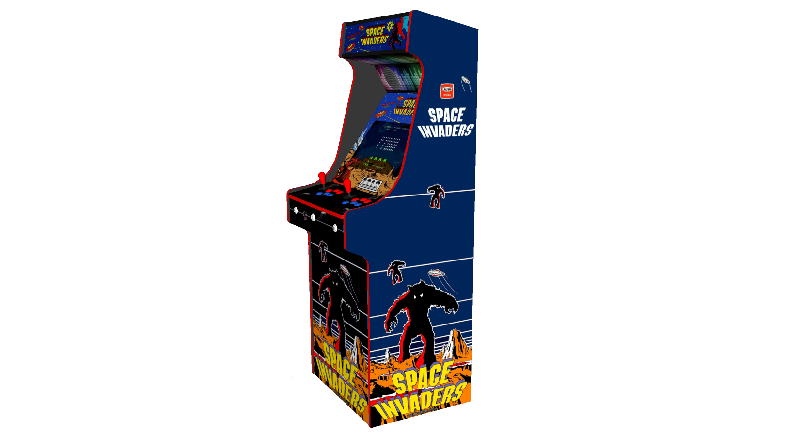 Classic Upright Arcade Machine - Space Invaders Theme Right - v2