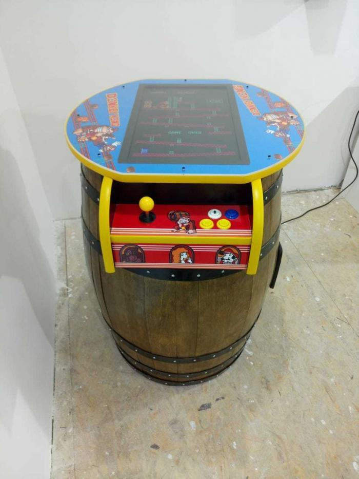 Unique Kong Barrel Design Arcade Machine With 60 Games top view 2