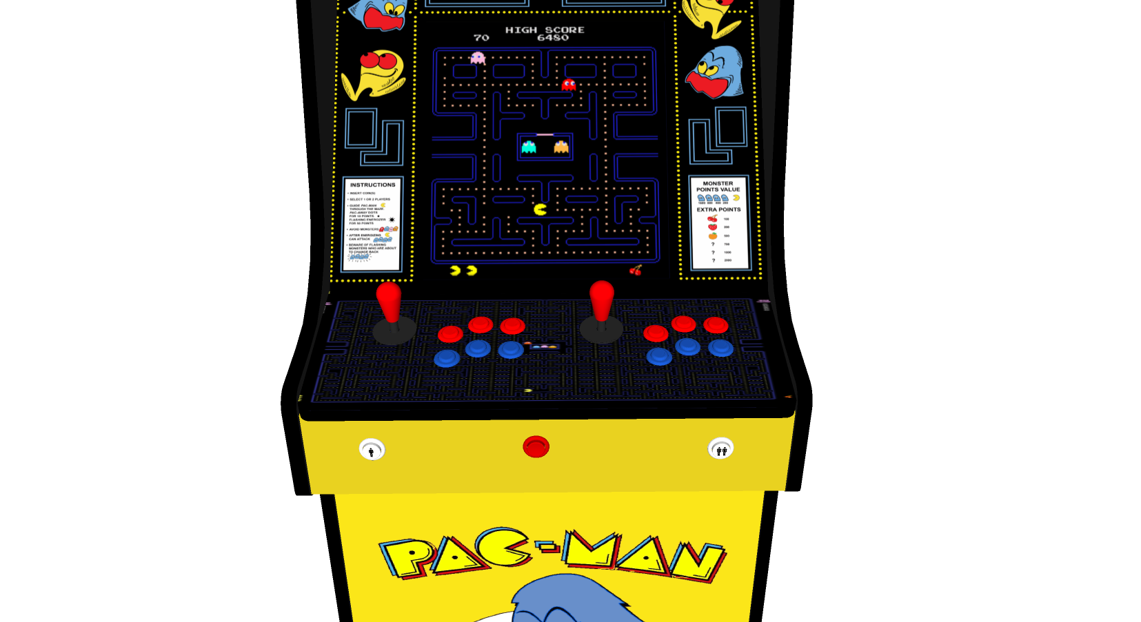 Classic Upright Arcade Machine - Original PacMan Theme - Buttons v2