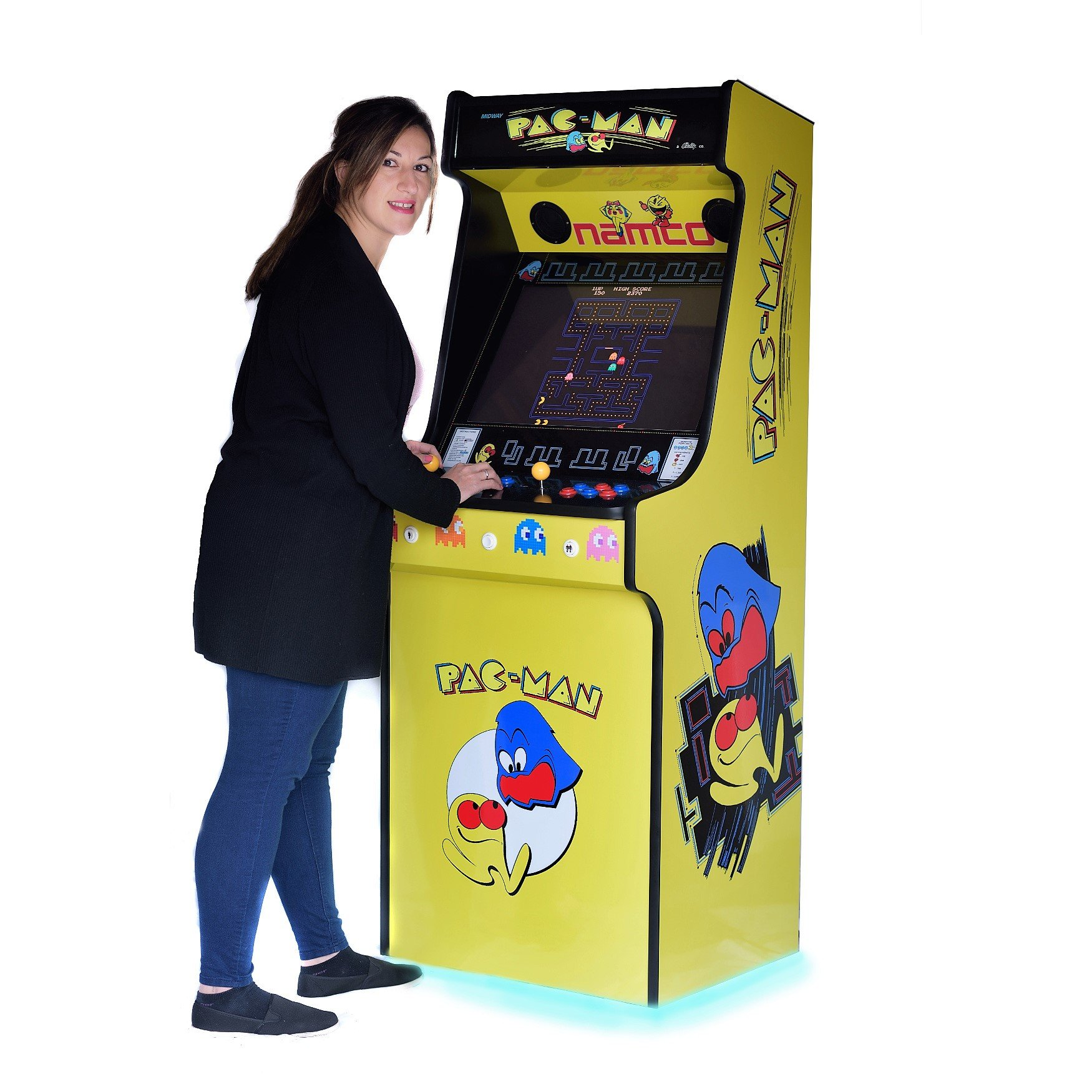 Classic Upright Arcade Machine - Original PacMan Yellow Theme - right playing