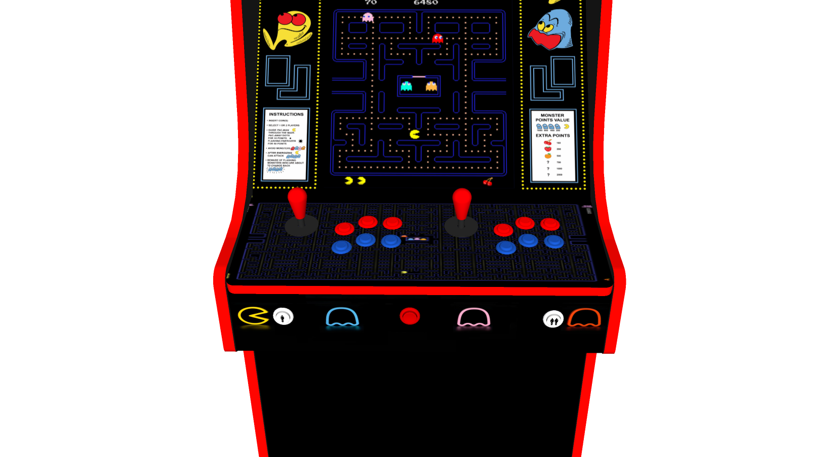 Classic Upright Arcade Machine - PacMan Theme Buttons - V2