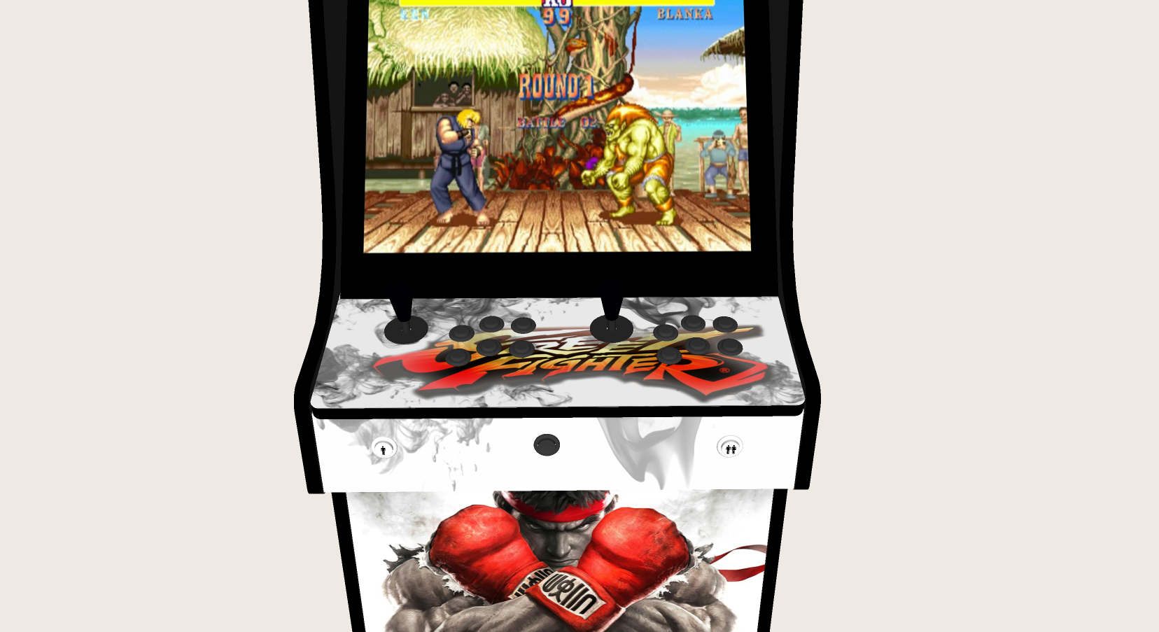 Classic Upright Arcade Machine - Street Fighter 5 Theme - Buttons