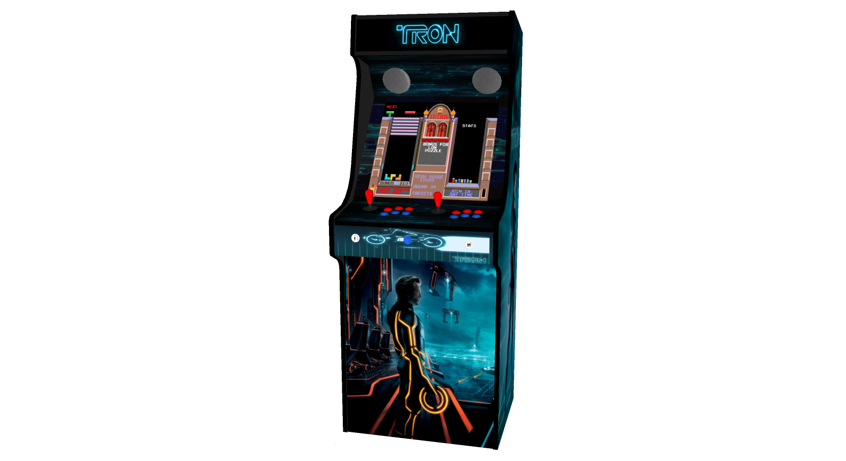 Classic Upright Arcade Machine - TRON Theme - middle