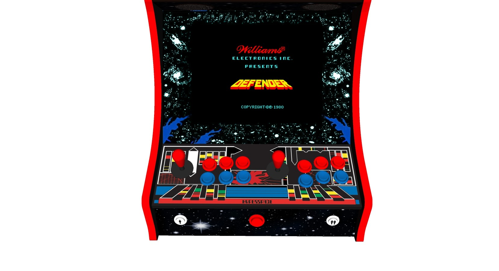 Classic Bartop Arcade Machine with 619 Games Defender theme - Buttons
