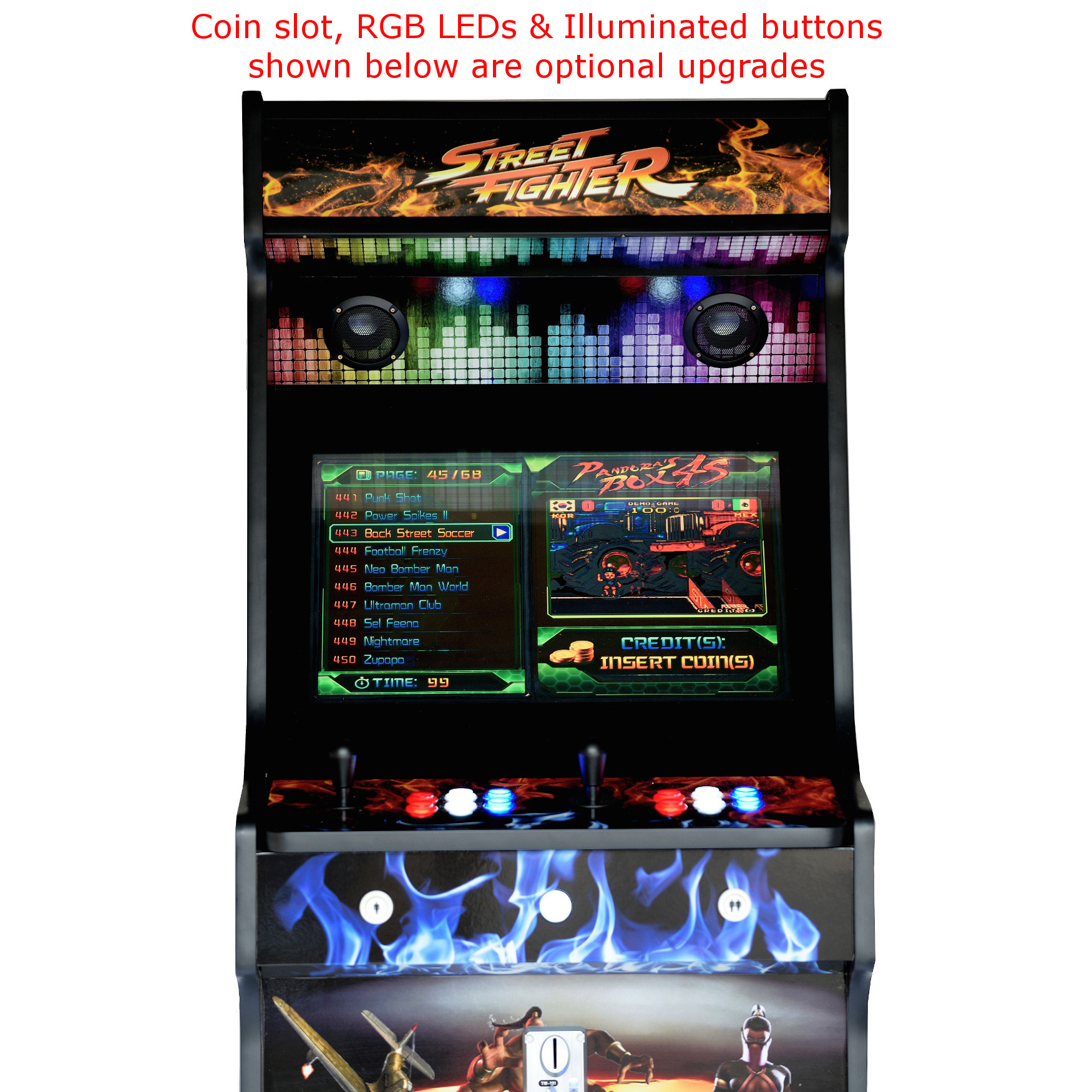 Classic-Upright-Arcade-Machine-Street-Fighter-Theme-With illuminated Buttons and Coin Slot 2 - middle