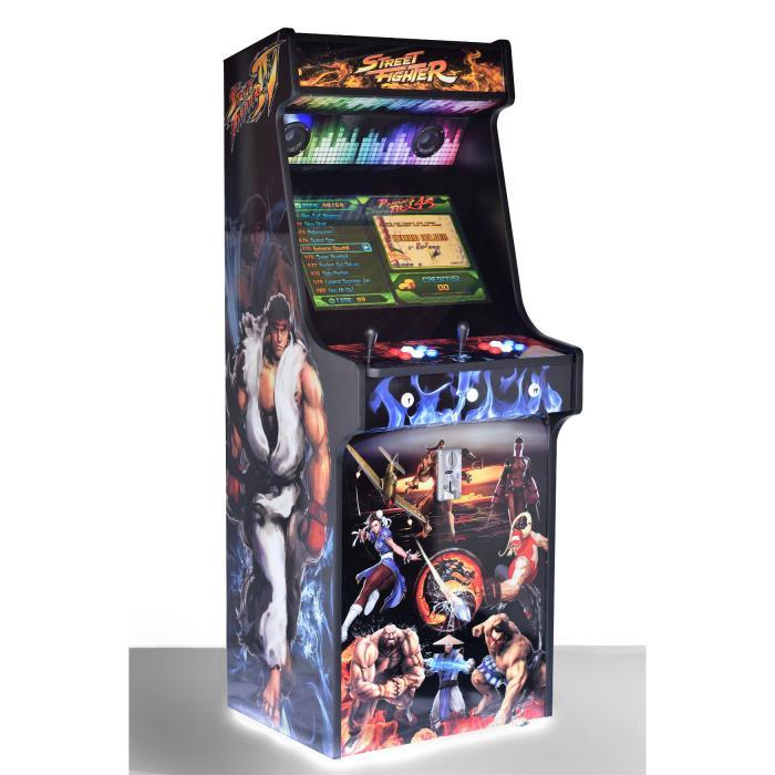 Classic-Upright-Arcade-Machine-Street-Fighter-Theme-With illuminated Buttons and Coin - Slot Left
