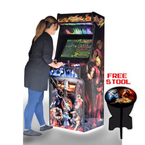 Classic-Upright-Arcade-Machine-Street-Fighter-Theme-With illuminated Buttons and Coin Slot - Playing