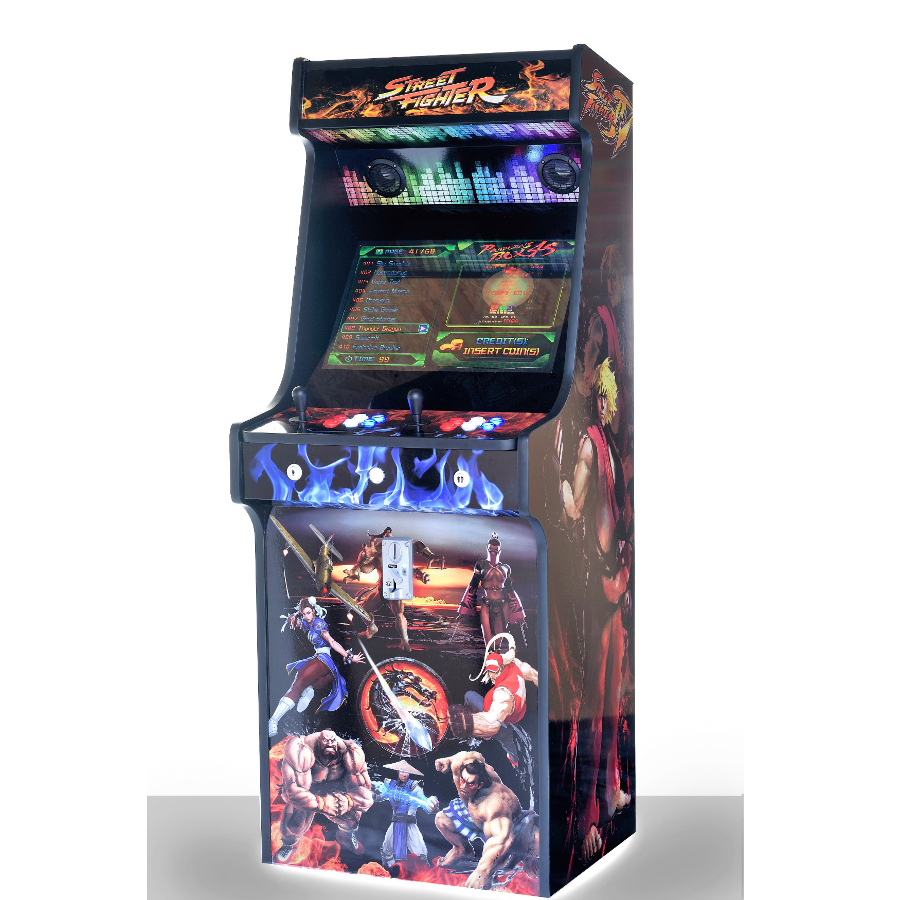 Classic-Upright-Arcade-Machine-Street-Fighter-Theme-With illuminated Buttons and Coin Slot - right