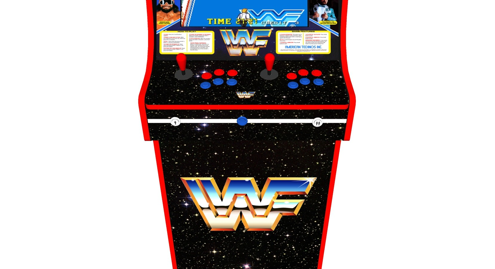 Retro Upright Arcade Machine 520 Games Wwf Superstars