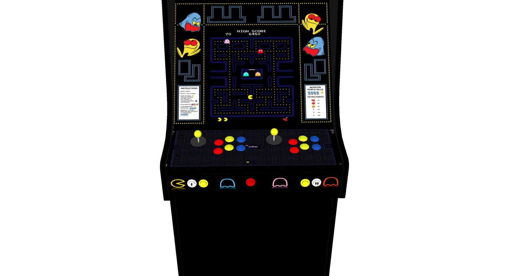 Classic Upright Arcade Machine - PacMan Theme - V2 - retropi 15000 games subwoofer buttons