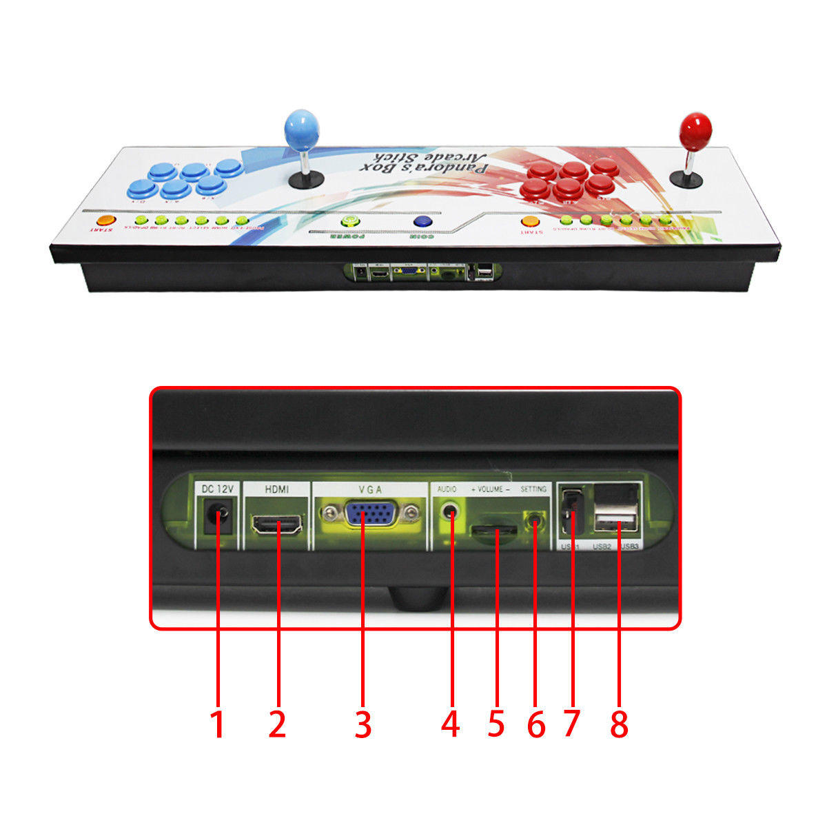 Pandoras Box 6 - 2in1 Fightstick and Arcade Console with 1300 games - back buttons