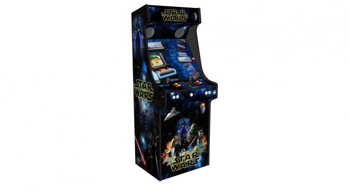 Star Wars Upright Arcade Machine, 15,000+ Games, 24 Inch Screen, Subwoofer, RGB LEDs RetroPI, American Style Illuminated Buttons - Left