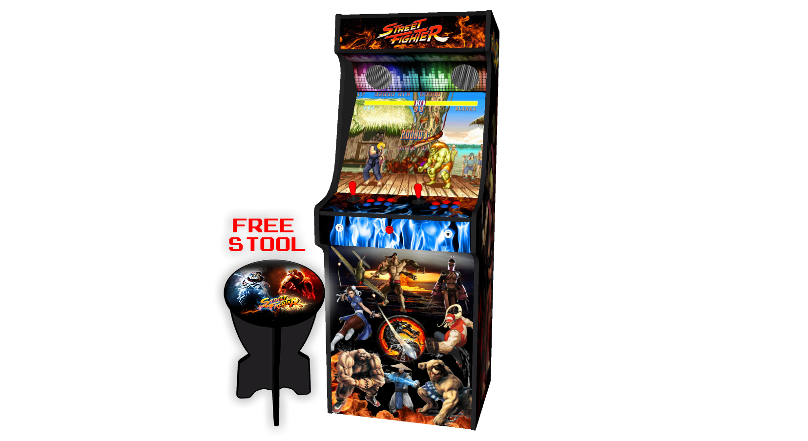 Classic-Upright-Arcade-Machine-Street-Fighter-Theme-v2-Middle-free-stool