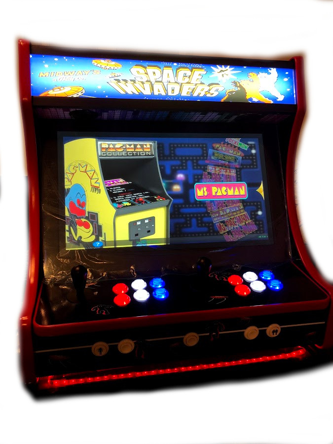 Classic Bartop Arcade - Space Invaders theme RetroPI with 15,000 games - black bezel - front side (Actual Machine)