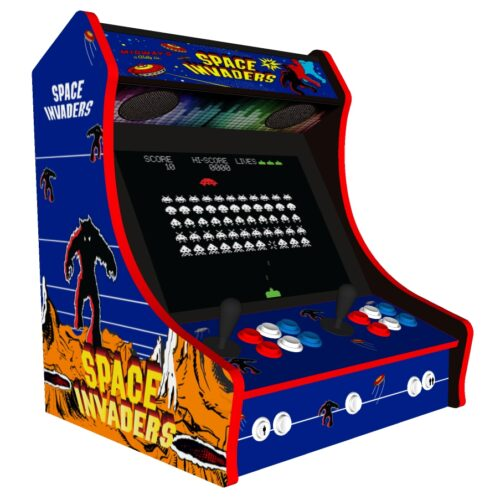 Classic Bartop Arcade - Space Invaders theme RetroPI with 15,000 games - black bezel - left side
