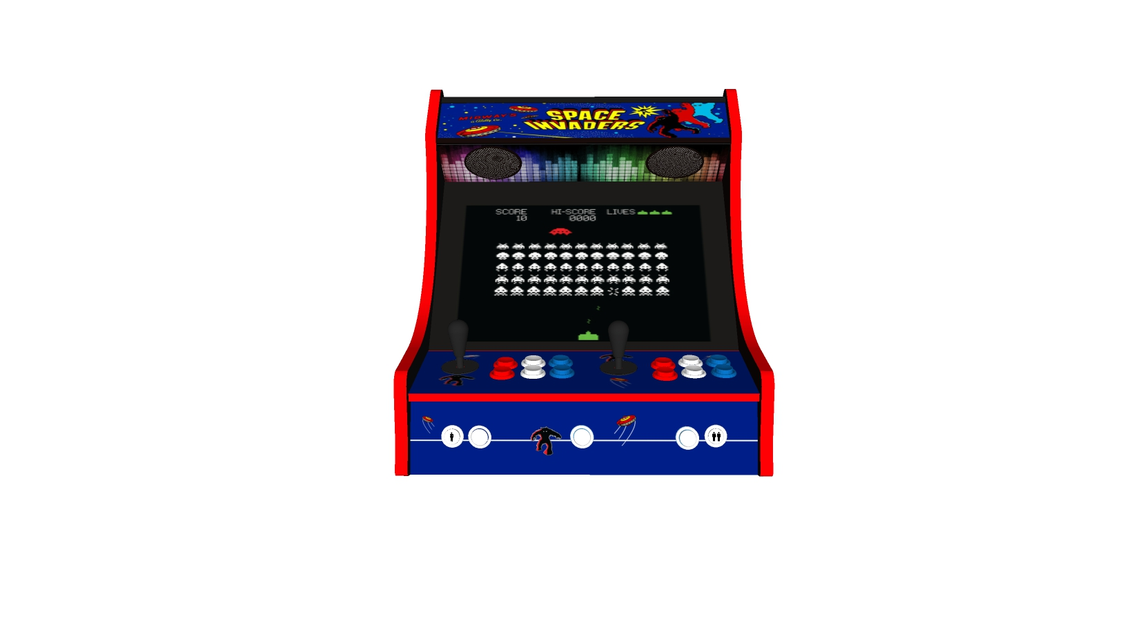 Classic Bartop Arcade - Space Invaders theme RetroPI with 15,000 games - black bezel - middle