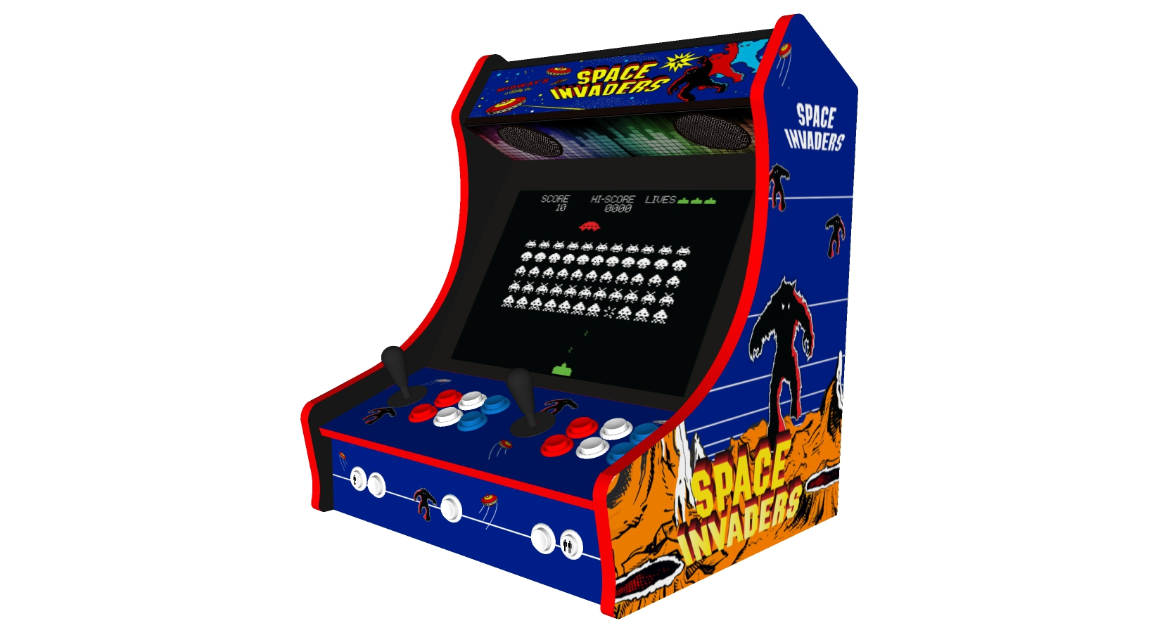Classic Bartop Arcade - Space Invaders theme RetroPI with 15,000 games - black bezel - right side