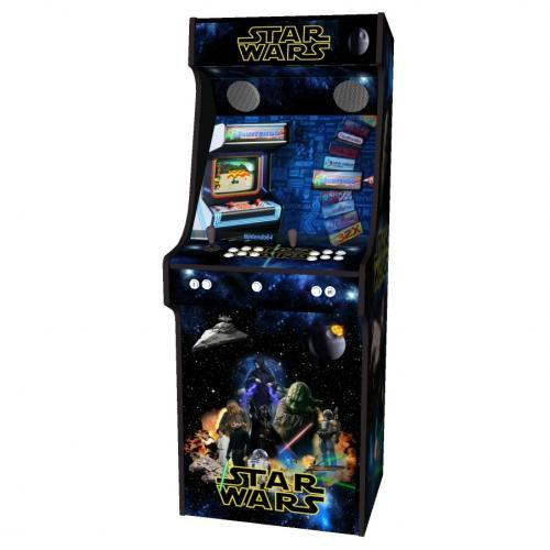 Star Wars Upright Arcade Machine, 15,000+ Games, 24 Inch Screen, Subwoofer, RGB LEDs RetroPI, American Style Classic White Buttons - Middle