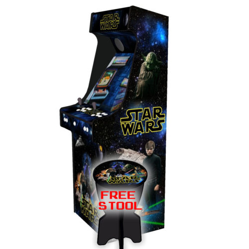 Star Wars Upright Arcade Machine, 15,000+ Games, 24 Inch Screen, Subwoofer, RGB LEDs RetroPI, American Style Classic White Buttons - Right