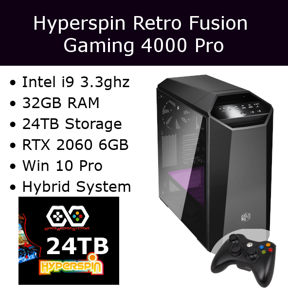 Hyperspin Preconfigured Gaming Machine - Retro Fusion 4000 Pro