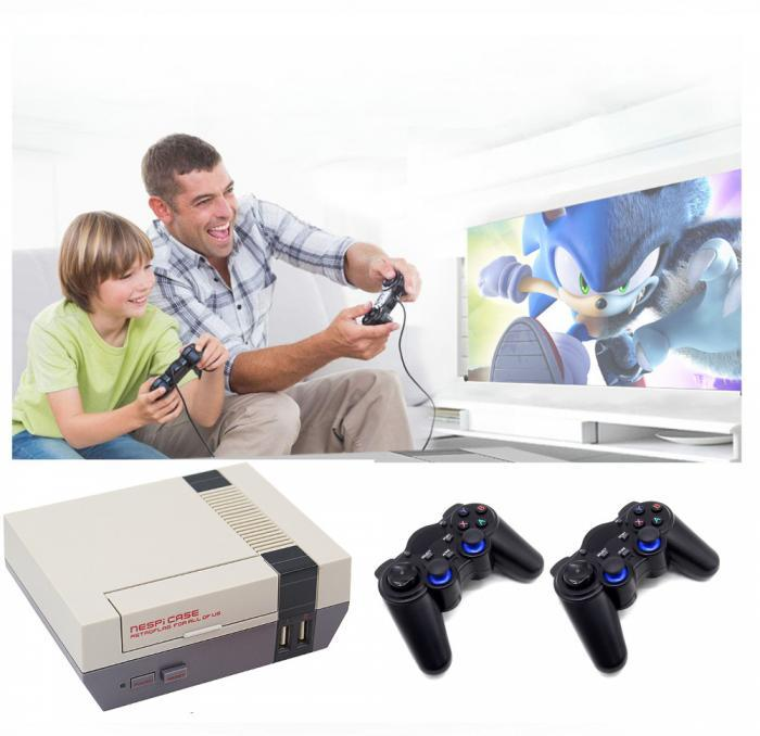 NES-Inspired-Game-Box-with-15000-plus-games-wireless-controllers-Playing-on-the-TV