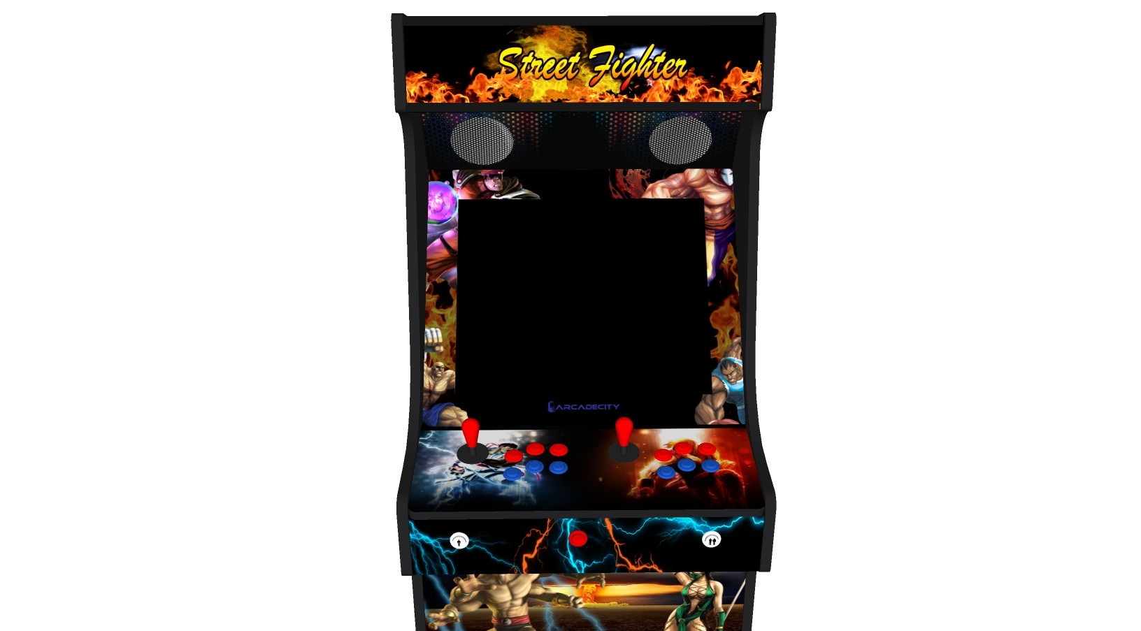 Classic Upright Arcade Machine - Street Fighter Theme v2 100w subwoofer 24 inch screen-left-middle