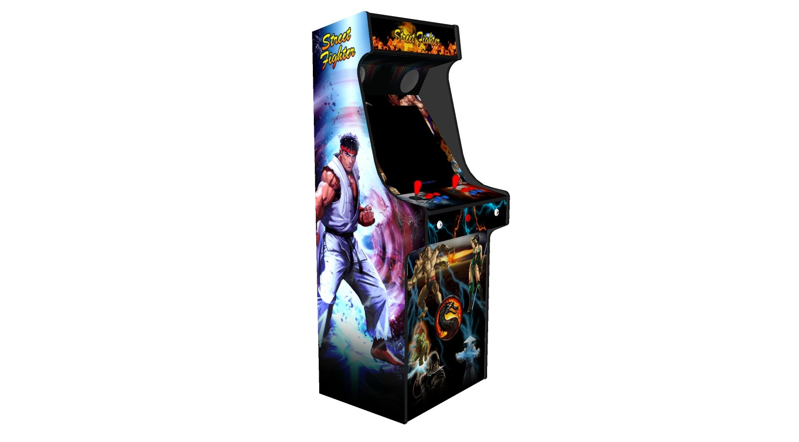 Classic Upright Arcade Machine - Street Fighter Theme v2 100w subwoofer 24 inch screen-left