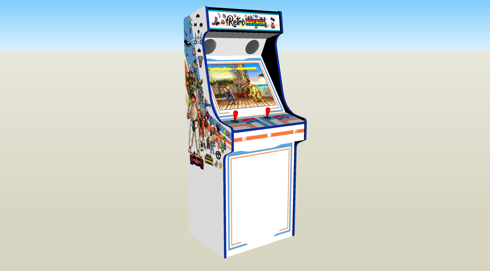 Retro Mash Arcade Machine with 1300 games, 100w subwoofer - left