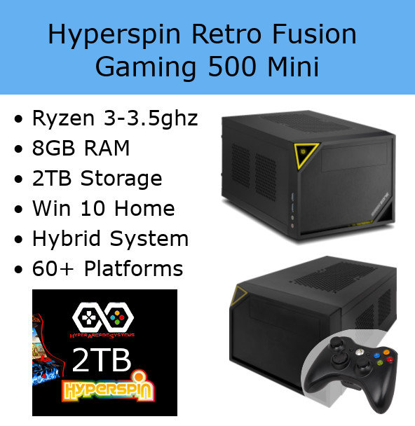 Hyperspin Preconfigured Gaming Machine - Retro Fusion 500 Mini 2TB