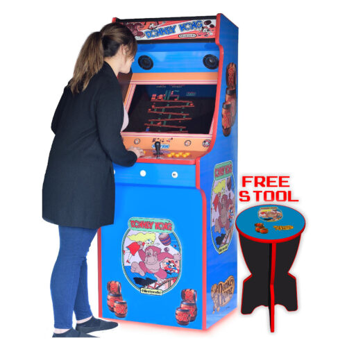 Classic-Upright-Arcade-Machine-Donkey-Kong-Playing-free-stool