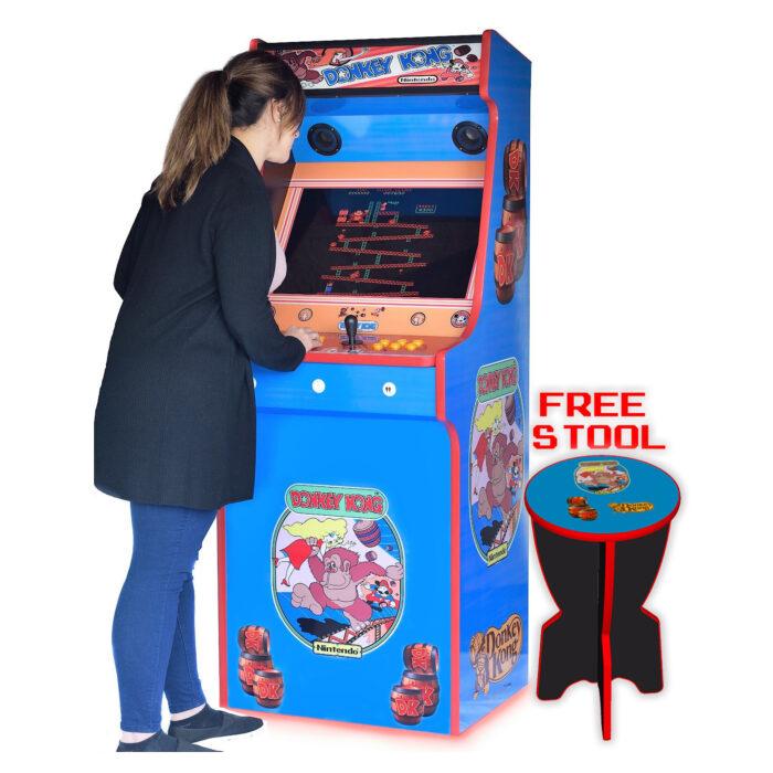 Classic-Upright-Arcade-Machine-Donkey-Kong-Playing-free-stool