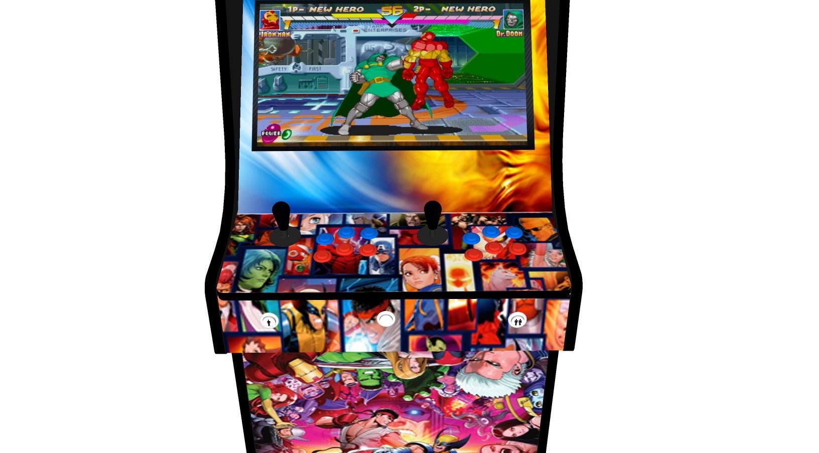 Classic Upright Arcade Machine - Marvel vs Capcom Theme - Buttons