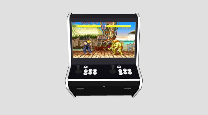 Wall Arcade 3000 Games Black Cab White Buttons and Tmold - Middle