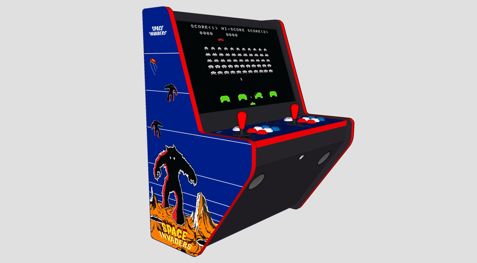 Wall Hung Arcade 3000 Games Space Invaders Theme - Left