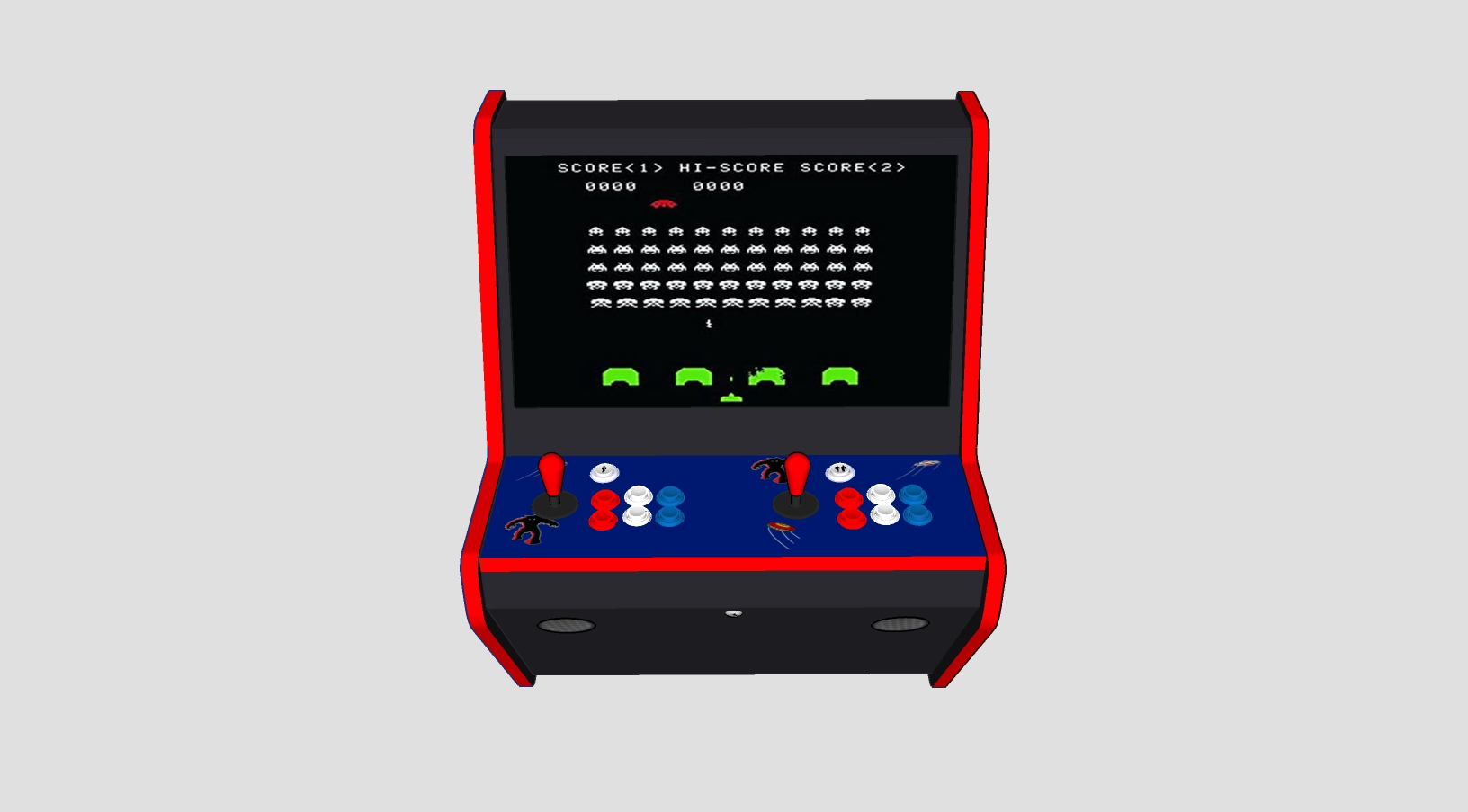 Wall Hung Arcade 3000 Games Space Invaders Theme - Middle