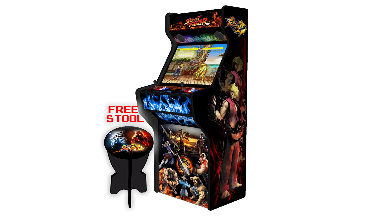 Street Fighter 27 Inch Upright Arcade Machine - American Style Joysticks - Black Tmold - Right
