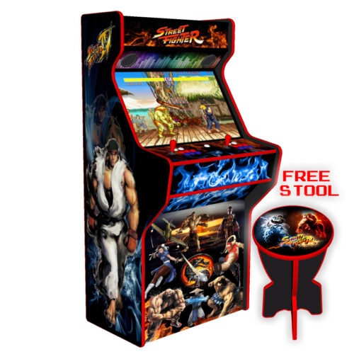 Street Fighter 32 Inch Upright Arcade Machine - American Style Joysticks - Red Tmold - Left