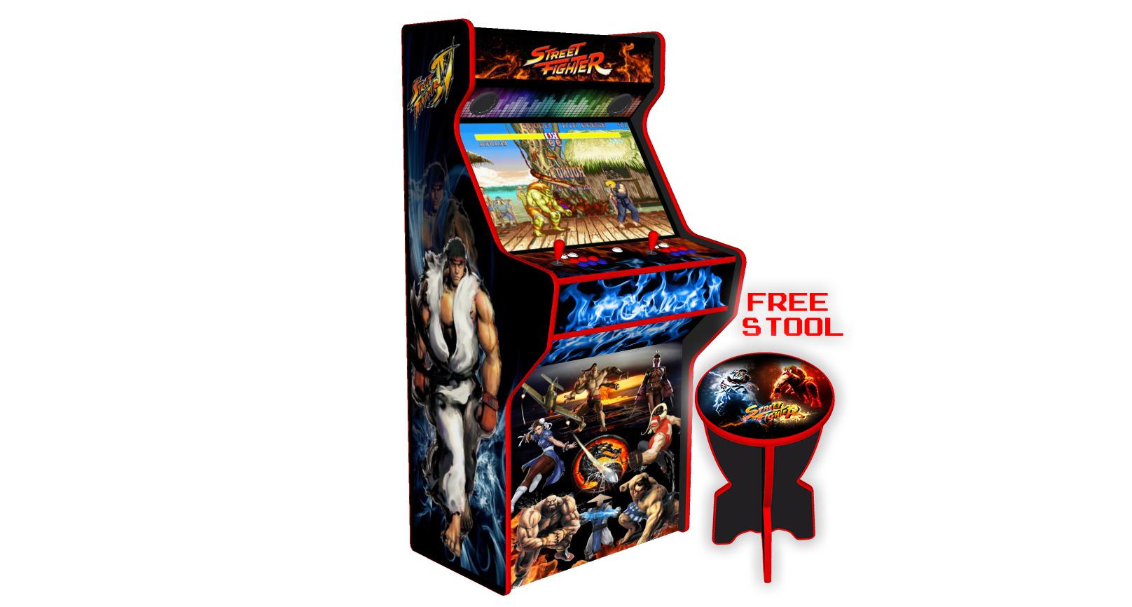 Street Fighter 32 Inch Upright Arcade Machine - American Style Joysticks - Red Tmold - Left