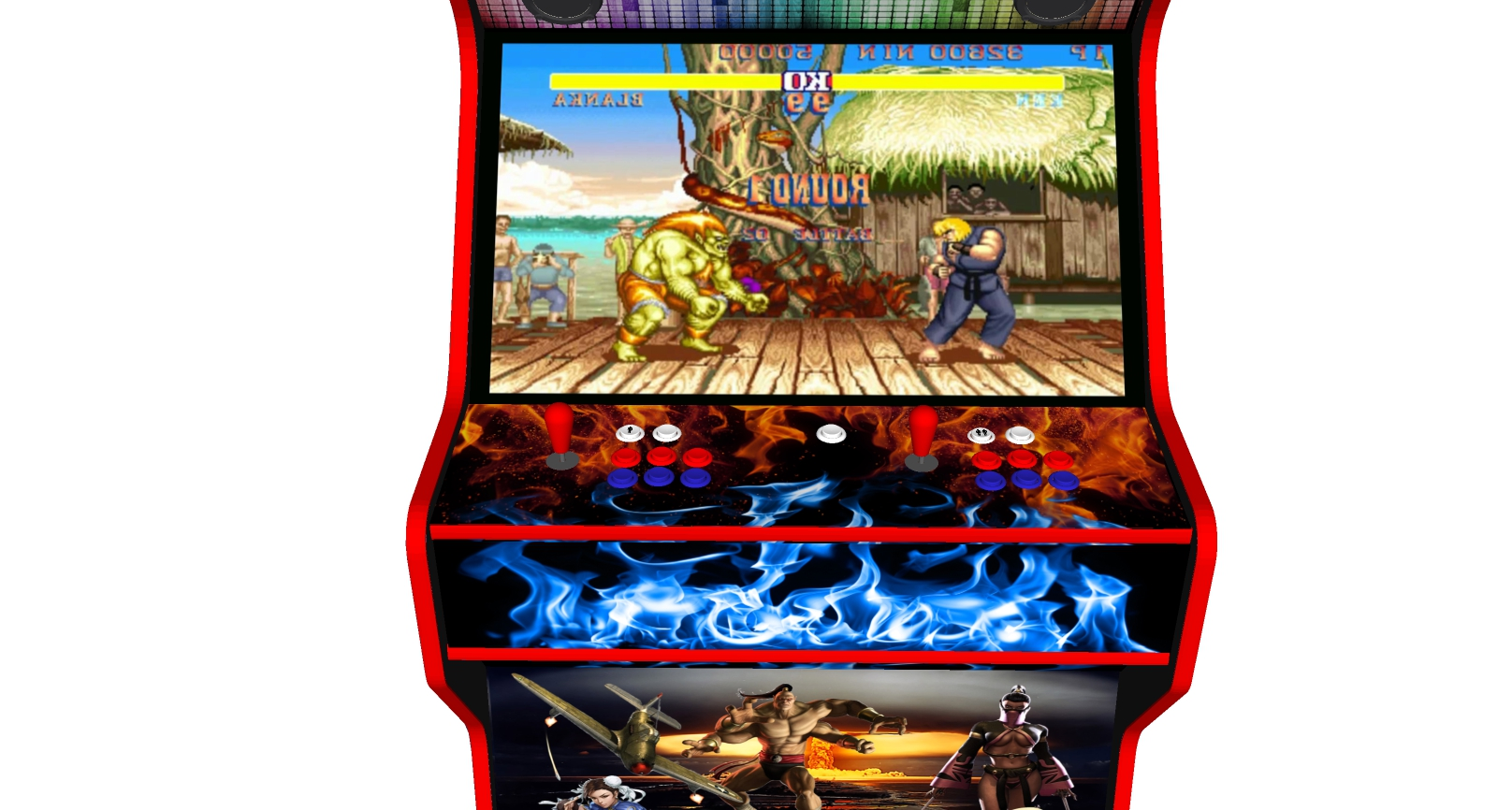 Street Fighter 32 Inch Upright Arcade Machine - American Style Joysticks - Red Tmold - controller