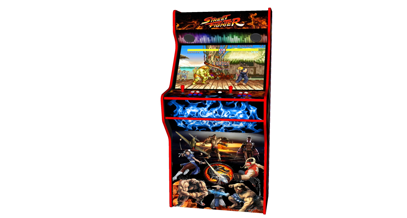 Street Fighter 32 Inch Upright Arcade Machine - American Style Joysticks - Red Tmold - middle