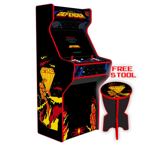 Defender-27-Inch-Upright-Arcade-Machine-American-Style-Joysticks-Red-Tmold-Left-15k-games-free-stool