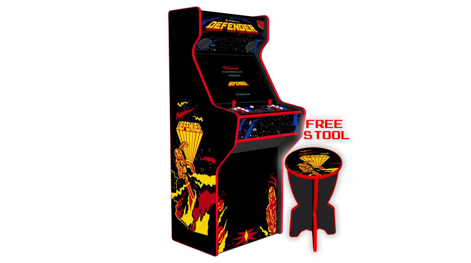 Defender - 27 Inch Upright Arcade Machine - American Style Joysticks - Red Tmold - Left - 15k games