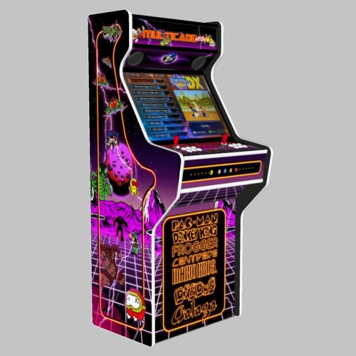 Multicade - 27 Inch Upright Arcade Machine - American Style Joysticks - white Tmold - Left