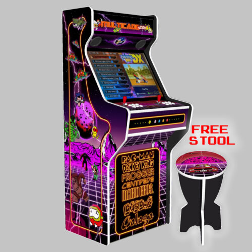 Multicade-27-Inch-Upright-Arcade-Machine-American-Style-Joysticks-white-Tmold-Left-free-stool