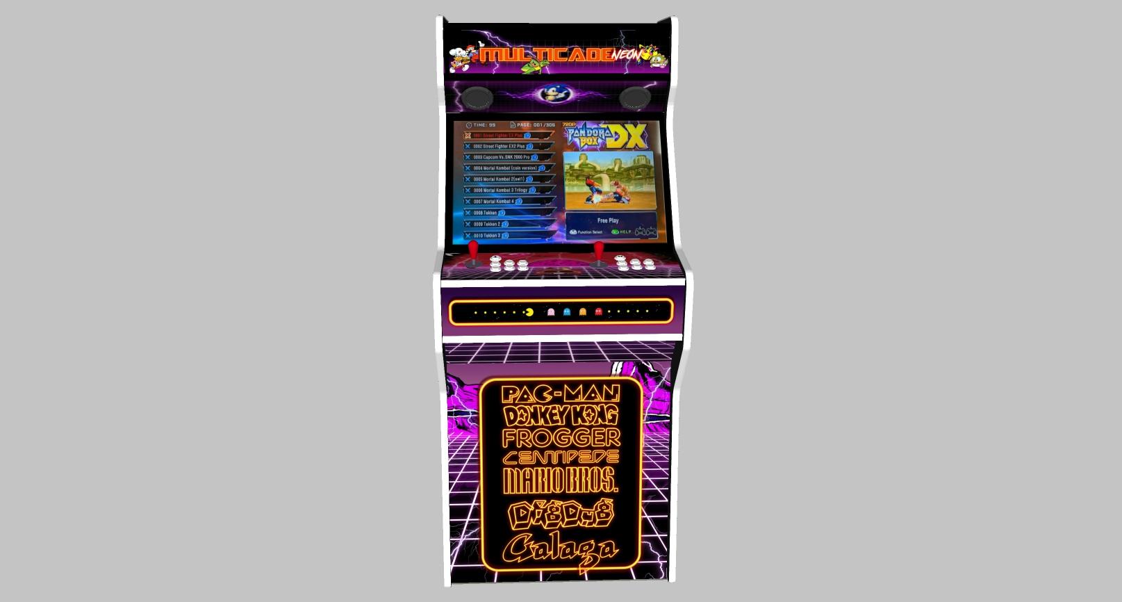 Multicade - 27 Inch Upright Arcade Machine - American Style Joysticks - white Tmold - Middle
