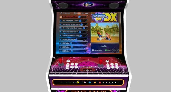 Multicade - 27 Inch Upright Arcade Machine - American Style Joysticks - white Tmold - controls