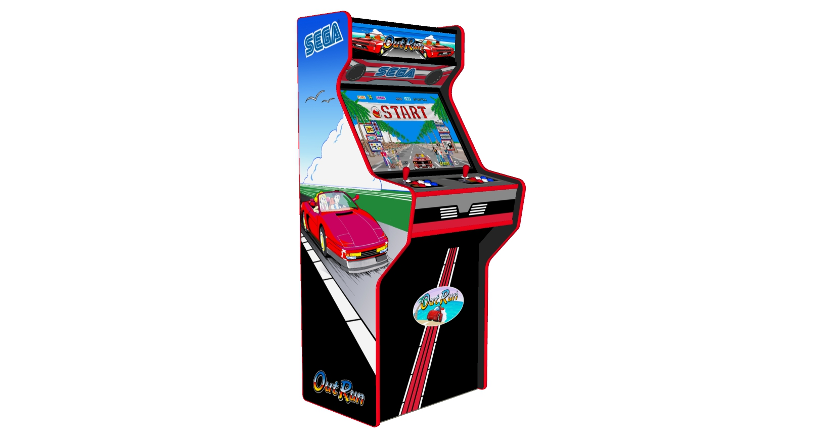 Outrun - 27 Inch Upright Arcade Machine - American Style Joysticks - Red Tmold - Left